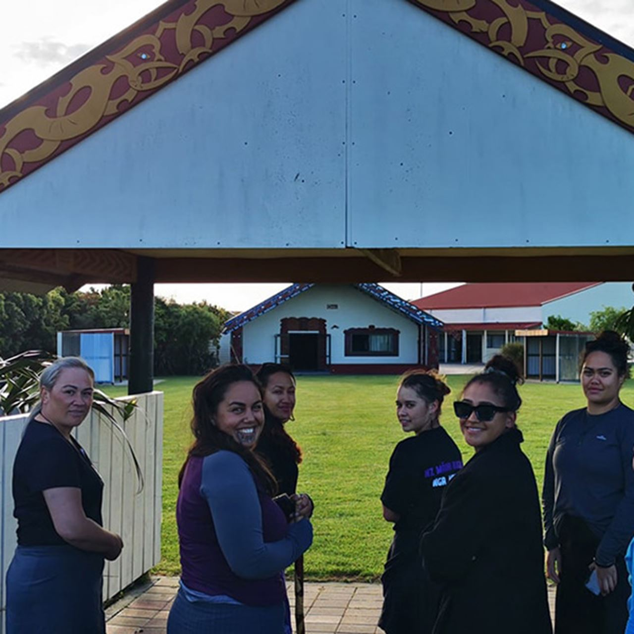 Tyra Begbie and Kyea Watene-Hakaria pictured far right with the team as they arrive at Pukemokimoki marae
