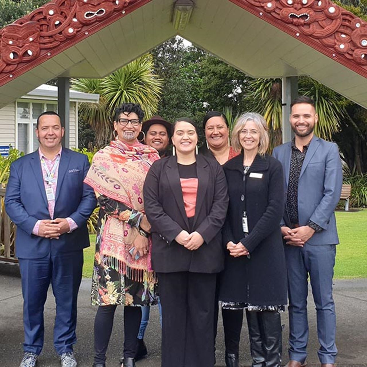 Pictured above from left: Pou Tikanga Māori Health Gains and Development Graham Cameron, General Manager Māori Health Gains and Development Tricia Keelan, Awanuiārangi Kaiako Tahupotiki Taiaroa-Scott, Ani Black, Awanuiārangi Project Lead Rachel Wetere, BOPDHB CE Helen Mason and Awanuiārangi Kaiako Rapaera Tāwhai